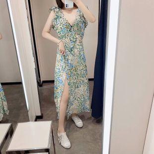 Spring flower printing sleeveless ruffled long dress nihaojewelry wholesale NHAM214172's discount tags