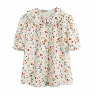 Spring fashion spring garden floral print retro ruffled blouse nihaojewelry wholesale NHAM214174's discount tags