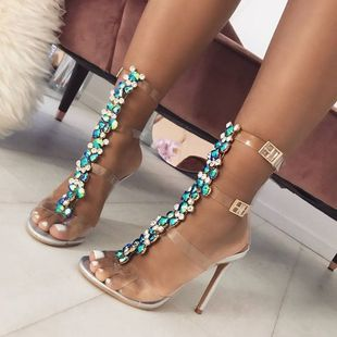 nihaojewelry wholesale fashion sexy color rhinestone chain transparent PVC high heel sandals NHEH214240's discount tags