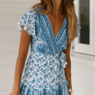 Blue boho style wild slim slimming short-sleeved V-neck straps printed dress nihaojewelry wholesale NHYF214260's discount tags