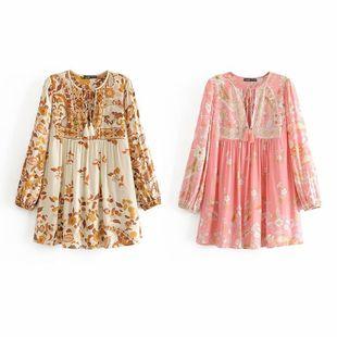 Spring print tassel bohemian shirt blouse nihaojewelry wholesale NHAM214329's discount tags