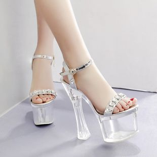 New women's shoes 16cm ultra-high-heeled waterproof platform rhinestone transparent heel catwalk sandals nihaojewelry wholesale NHSO214334's discount tags