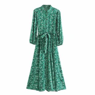 Spring dark green lady shirt style flower print long sleeve lapel dress nihaojewelry wholesale NHAM214337's discount tags
