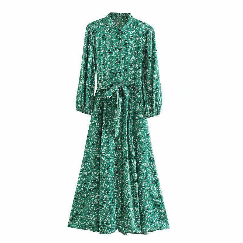 Spring dark green lady shirt style flower print long sleeve lapel dress nihaojewelry wholesale NHAM214337
