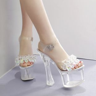 New women's shoes 16CM transparent crystal with rhinestone word with T-stage show sandals nihaojewelry wholesale NHSO214340's discount tags
