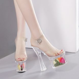 New women's shoes super high-heeled 16CM transparent crystal catwalk fashion sandals nihaojewelry wholesale NHSO214343's discount tags