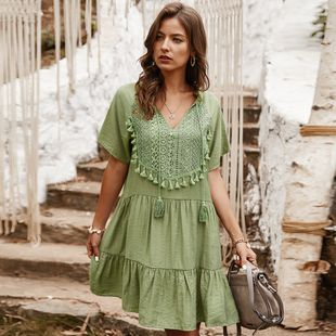 Summer new lace stitching solid color V-neck lady dress nihaojewelry wholesale NHKA214352's discount tags