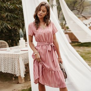 New women's V-neck sexy striped long dress nihaojewelry wholesale NHKA214354's discount tags