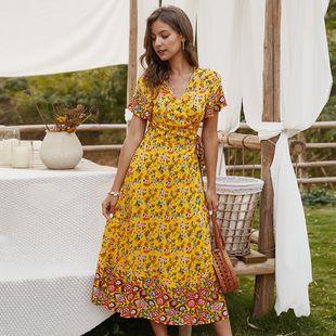 New summer bohemian yellowish floral dress long skirt nihaojewelry wholesale NHKA214356's discount tags