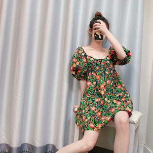 Spring fashion printed lantern sleeve dress nihaojewelry wholesale NHAM214367's discount tags