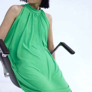 Spring pleated details loose green dress nihaojewelry wholesale NHAM214371's discount tags