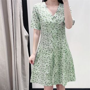 Summer new floral print V-neck short sleeve green dress wholesale nihaojewelry NHAM214373's discount tags