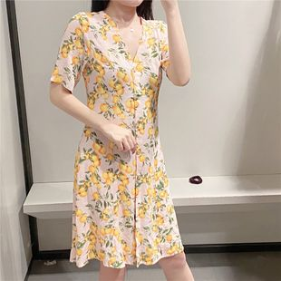 Summer French V-neck print swing skirt waist floral dress wholesale nihaojewelry NHAM214374's discount tags