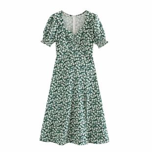 Spring new green square collar vintage floral dress nihaojewelry wholesale NHAM214375's discount tags
