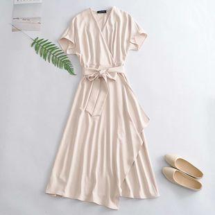Summer elegant belt side split solid color long dress nihaojewelry wholesale NHAM214376's discount tags