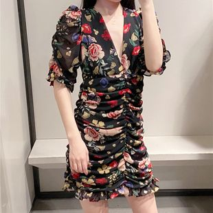 Summer new women's V-neck French pleated print dress nihaojewelry wholesale NHAM214377's discount tags