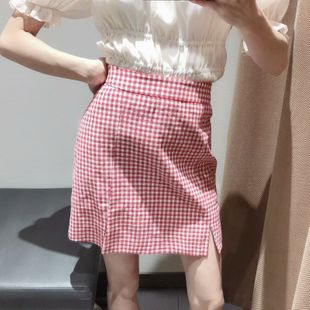 Spring simple check skirt A-line skirt nihaojewelry wholesale NHAM214378's discount tags