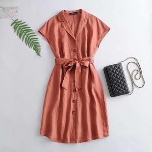 Summer new orange red linen bat short sleeve waist dress nihaojewelry wholesale NHAM214380's discount tags