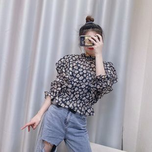 nihaojewelry wholesale spring fashion two-color fresh floral blouse NHAM214382's discount tags