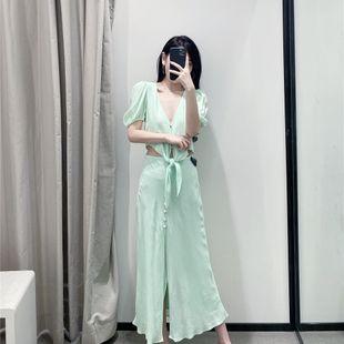 Summer fashion green breasted split polka dot printed high waist skirt nihaojewelry wholesale NHAM214383's discount tags