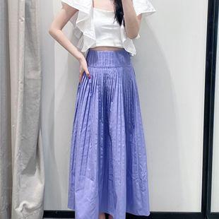 New purple high waist slim pleated long skirt nihaojewelry wholesale NHAM214385's discount tags