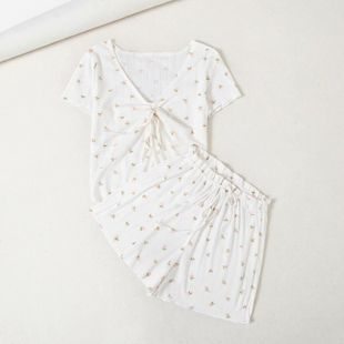 Spring new small floral V-neck drawstring knitted print top drawstring shorts home suit NHAM214386's discount tags