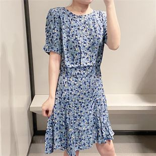 Summer new blue romantic floral high waist concave curve bubble sleeve wave point dress nihaojewelry wholesale NHAM214388's discount tags