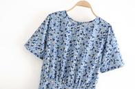 Summer new blue romantic floral high waist concave curve bubble sleeve wave point dress nihaojewelry wholesale NHAM214388
