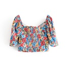 Spring new women39s floral floral short paragraph printed square collar blouse top nihaojewelry wholesale NHAM214390