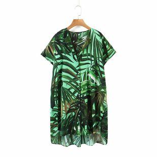 Summer rainforest chiffon printed mid-length loose shirts wholesale nihaojewelry NHAM214392's discount tags
