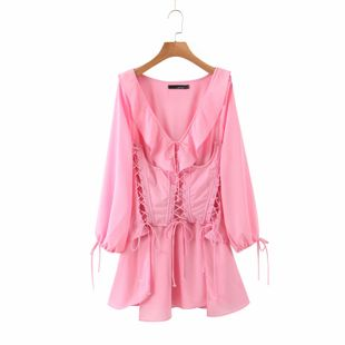 Summer new fashion pink waist seal long-sleeved dress nihaojewelry wholesale NHAM214393's discount tags