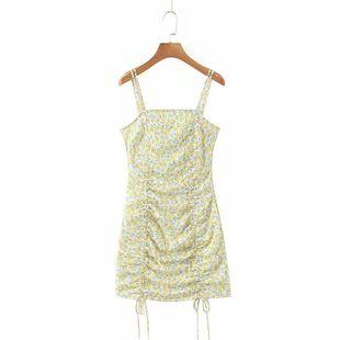 Summer new fashion yellow flower drawstring suspender dress nihaojewelry wholesale NHAM214396's discount tags