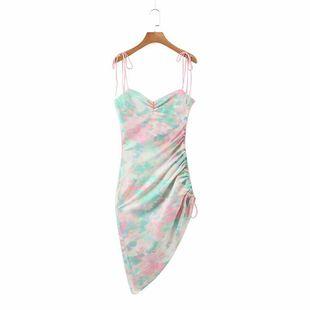 nihaojewelry wholesale summer fashion tie-dye printed beveled strap slim dress NHAM214398's discount tags