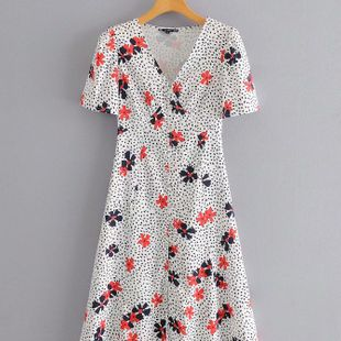 Summer fashion floral print button decoration V-neck dress nihaojewelry wholesale NHAM214399's discount tags