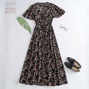 Summer new printed trumpet short sleeve black dress nihaojewelry wholesale NHAM214400's discount tags