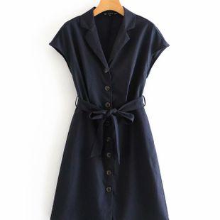 Summer sleeveless fashion navy blue linen waist dress nihaojewelry wholesale NHAM214401's discount tags