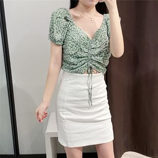 Spring new short paragraph floral drawstring green shirt nihaojewelry wholesale NHAM214403's discount tags