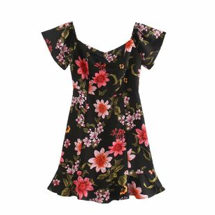Spring fashion floral slim-fit short-sleeved one-piece collar dress nihaojewelry wholesale NHAM214404's discount tags