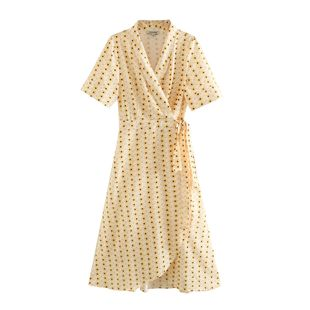 Summer light yellow daisy floral v-neck lace-up wrap dress nihaojewelry wholesale NHAM214405's discount tags