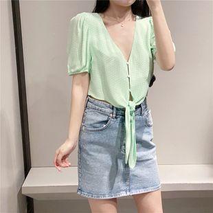 New fresh niche bandage knot ornament polka dot short shirt green shirt nihaojewelry wholesale NHAM214408's discount tags