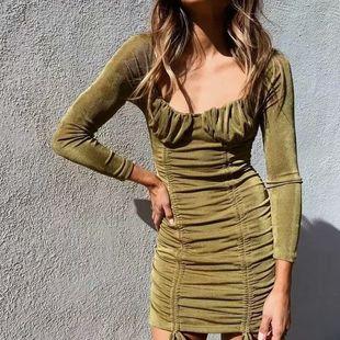 Spring Ribbed Drawstring Elastic Slim Lace Dress nihaojewelry wholesale NHAM214410's discount tags
