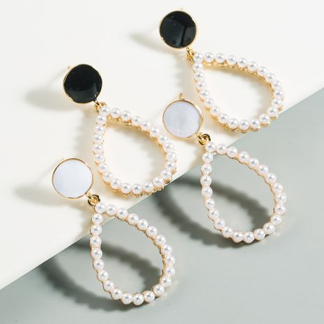 New bohemian drop-shaped alloy pearl drop earrings simple and stylish white earrings for women nihaojewelry wholesale NHLN214422's discount tags