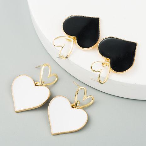 Korean fashion double love earrings heart-shaped oil drop hollow alloy earrings S925 silver needle earrings for women nihaojewelry wholesale NHLN214428's discount tags