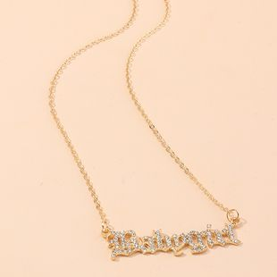New wild letter necklace babygirl studded with diamond clavicle chain nihaojewelry wholesale NHNZ214469's discount tags