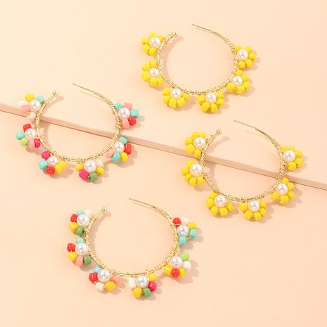 Boho colored rice beads flower earrings C-shaped earrings wholesale nihaojewelry NHNZ214471's discount tags