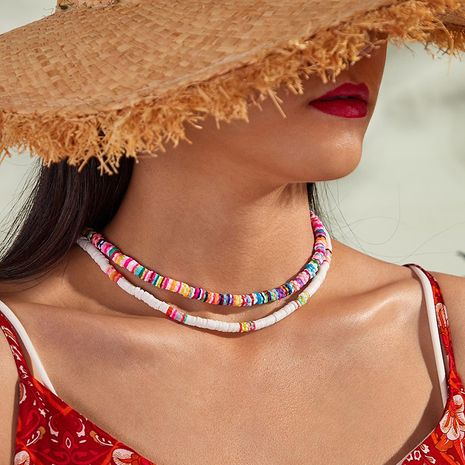 New simple bohemian fashion terracotta necklace color choker neck chain nihaojewelry wholesale NHNZ214472's discount tags