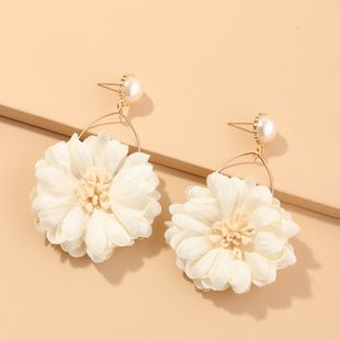 New fashion fabric flower earrings wild chrysanthemum earrings pearl earrings nihaojewelry wholesale NHNZ214473's discount tags
