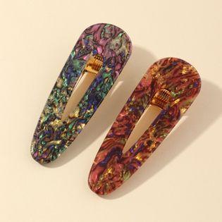 Acetato acrílico horquilla popular patrón de piedra tocado sirena borde clip conjunto al por mayor NHNZ214477