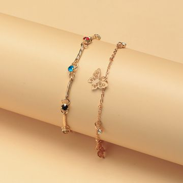 New color diamond tassel alloy butterfly pendant double anklet wholesale nihaojewelry NHNZ214478