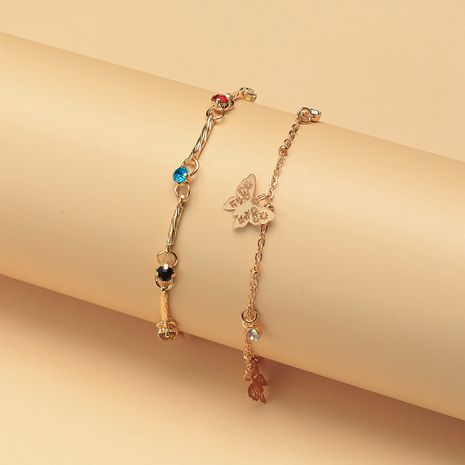 New color diamond tassel alloy butterfly pendant double anklet wholesale nihaojewelry NHNZ214478's discount tags
